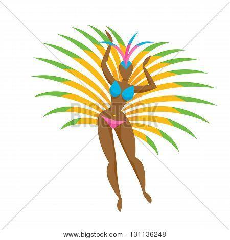Samba dancer girl colorful icon vector illustration. Brazilian carnival symbol.