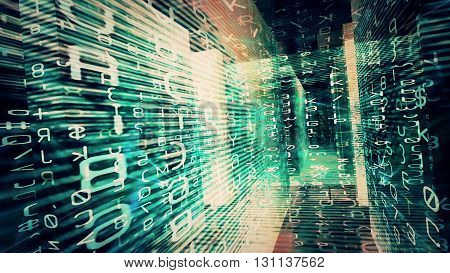 Conceptual futuristic technology digital light abstraction. High resolution illustration 10890.