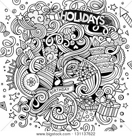 Cartoon hand drawn doodles holidays illustration. Line art detailed, with lots of objects vector design background