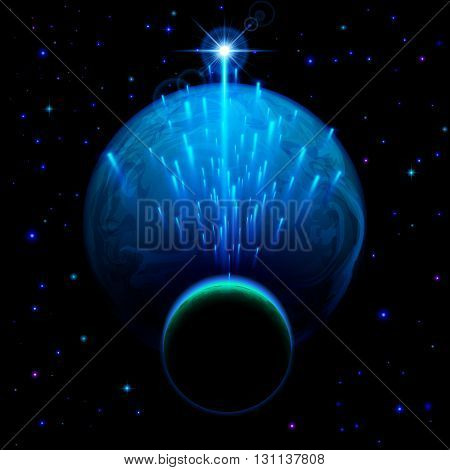 Space background. Big blue planet and small one with star shower and bright flare
