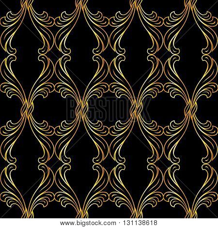 Gold floral pattern in classic style on black background