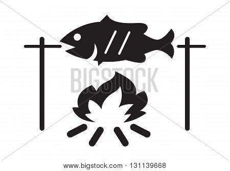 clip art grilled fish on white background