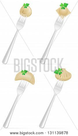 Dumplings Of Dough With A Filling And Greens On Fork Set Icons Vector Illustration