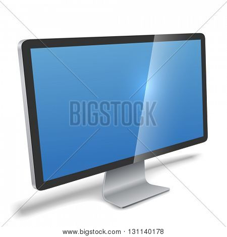 Modern monitor realistic vector illustration. Flat screen LCD monitor perspective view isolated on white background.