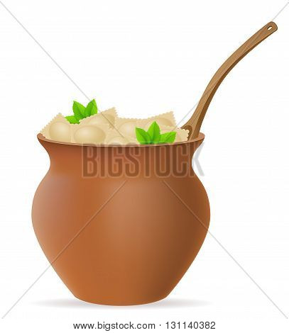 Dumplings Ravioli Of Dough With A Filling And Greens In Clay Pot Vector Illustration