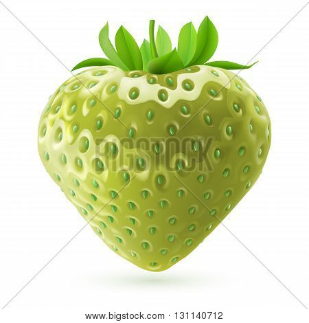 Realistic illustration of unripe strawberry on white background