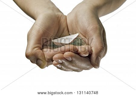 paper boat in hands on isolated white background