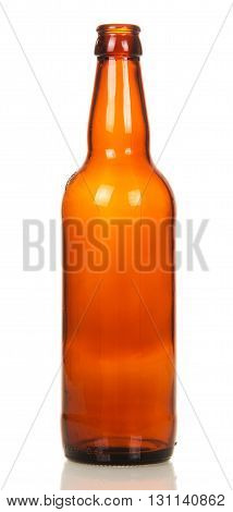 Glass empty brown beer bottle isolated on white background.
