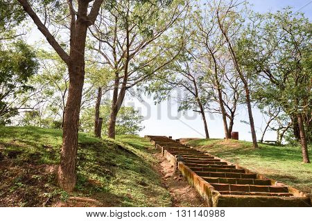 Stairs up the hill in the park within Leon Viejo - ruins of the old city of Leon, Nicaragua. The city was abandoned after the quakes and Momotombo eruption in the 17th century. Unesco world heritage site