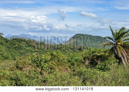 Beautiful landscapes of various volcanic peaks in the distance seen from the top of Telica Volcano in San Jacinto near Leon Nicaragua