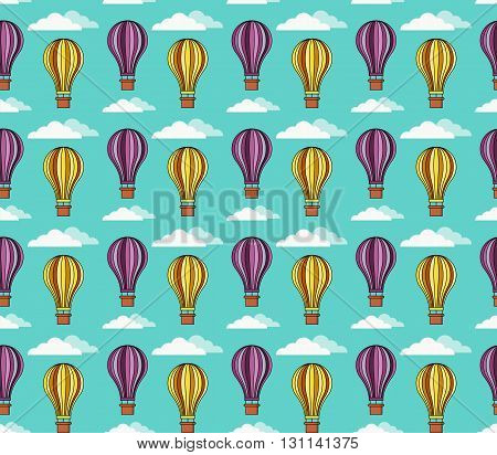 Hot air balloons in the sky with clouds colorful seamless vector pattern