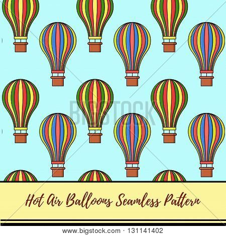 Hot air balloons seamless retro vector pattern