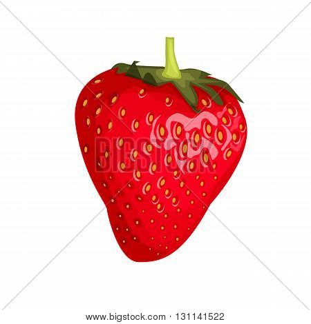 Isolated one red strawberry on a white background. Cartoon style. Vector illustration.