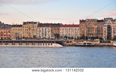 BUDAPEST HUNGARY - MAY 14: View of the riverside in centre of Budapest on May 14 2016. Budapest is a capital and largest city of Hungary.