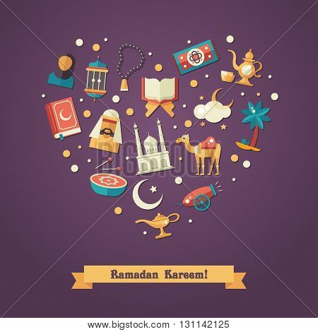 Set of modern vector flat design heart composition with icons of islamic holiday, culture, traditional greeting Ramadan Kareem. Muslim male, female, camel, cannon, mosque, prayer beads, lamp, drum