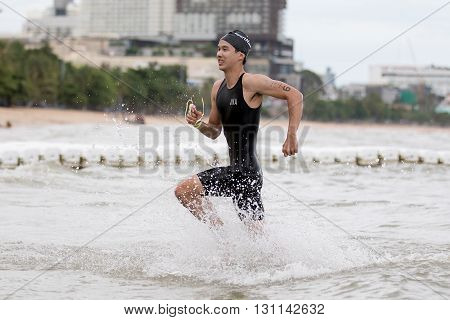 Chonburi Thailand - May 21 2016: Pattaya Triathlon Super Series 2016 event at Pattaya beach in Chonburi.