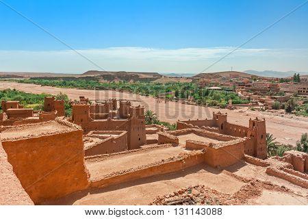 View of ksar Ait Benhaddou Ait Ben Haddou Kasbah Ouarzazate Morocco