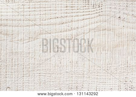 Fragment of old wooden board painted white.