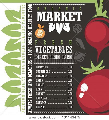 Farm Fresh Vegetables Market.  Creative price list vector design concept. Agricultural products store chalkboard sign. Banner or ad layout for 100% organic gmo free food. Organic natural healthy food.