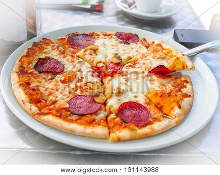 Italian Food: Delicious Homemade Pizza With Pepperoni And Mushroom