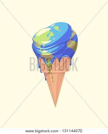 The Earth is melting. Concept vector illustration.