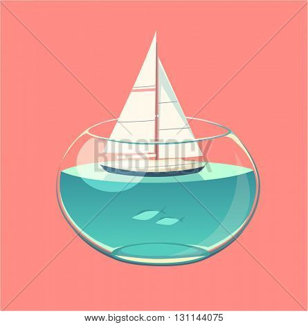 Closed water sailing. Concept vector illustration.