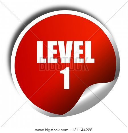 level 1, 3D rendering, red sticker with white text