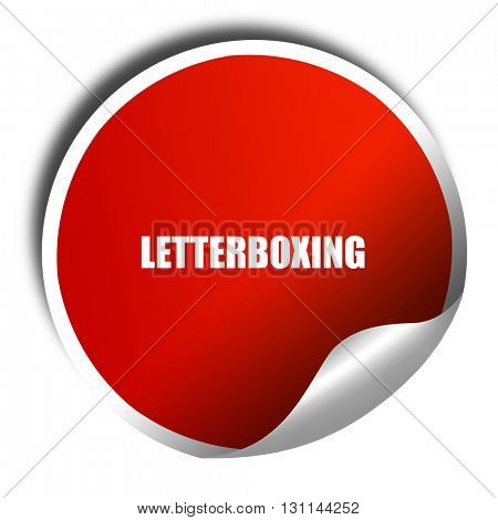 letterboxing, 3D rendering, red sticker with white text