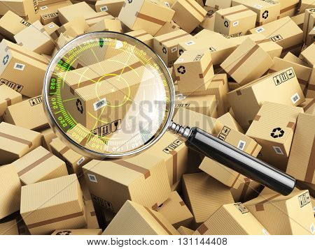 Delivery, shipping, logistics concept. Cardboard box tracking search. Loupe with aim and boxes. 3d illustration