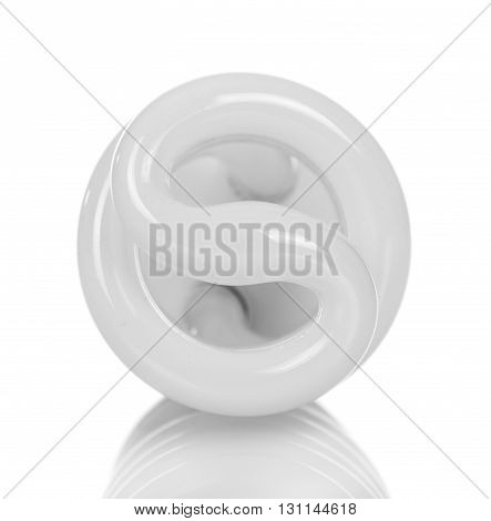 Energy saving spiral fluorescent lamp isolated on white background.