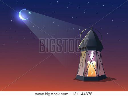 illuminated colorful ramadan lantern against blue night sky with an crescent moon.Cartoon style.Vector illustration