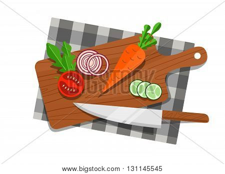 Salad Ingredients On Cutting Board Vector Set. Salad Ingredients With Knife Vector Illustration. Veg