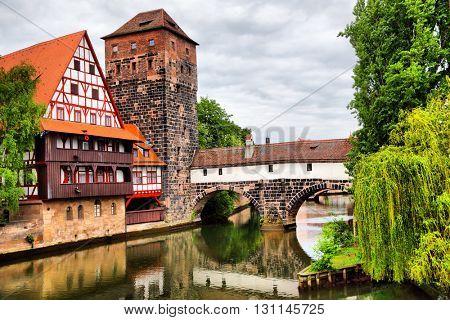 Maxbrucke bridge and Henkerturm tower in Nuremberg, Germany