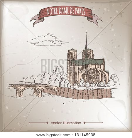 Vintage travel illustration with Notre Dame de Paris Cathedral and Archbishop Bridge over Seine. Hand drawn vector sketch. Great for travel ads, brochures, labels.