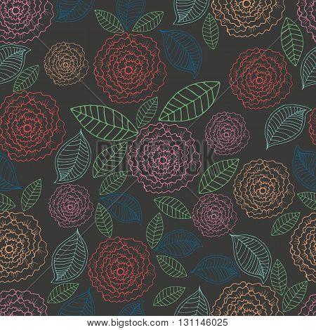 Vector doodle floral seamless pattern. Rose on a black background