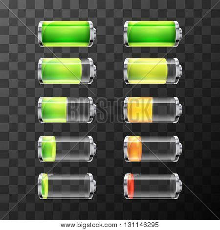 Set of glossy battery icons with different charge level isolated on white