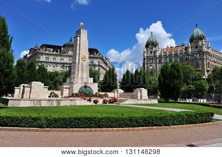 BUDAPEST HUNGARY - MAY 16: View of the Soviet War Memorial in Budapest Hungary Budapest on May 16 2016. Budapest it the capital and largest city of Hungary.