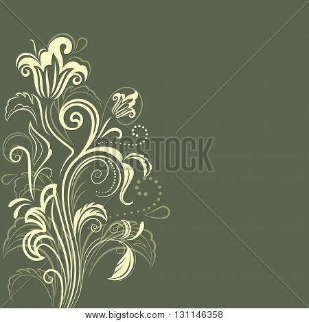 Abstract dark green floral background with copy space. Greeting card or invitation flower design.