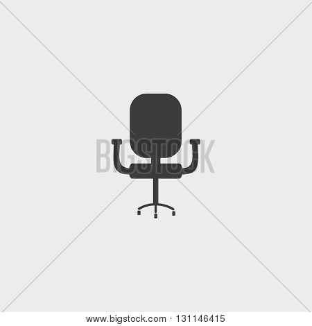 Office chair icon in a flat design in black color. Vector illustration eps10