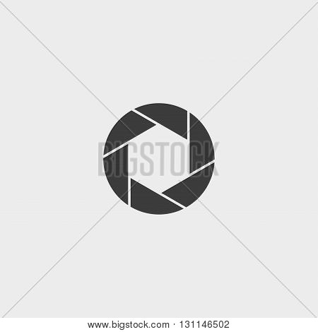 Camera objective icon in a flat design in black color. Vector illustration eps10