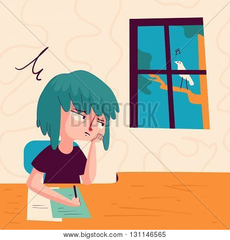 Vector illustration of a cartoon girl studying with a bored expression looking out of window showing a bird singing outside.