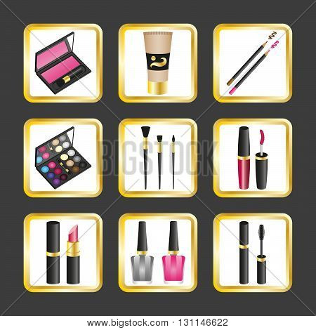 set of icons with cosmetic supplies makeup