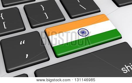 India digitalization and use of digital technologies concept with the Indian flag on a computer key 3D illustration.