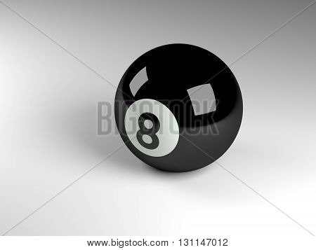 3d render of a black pool ball