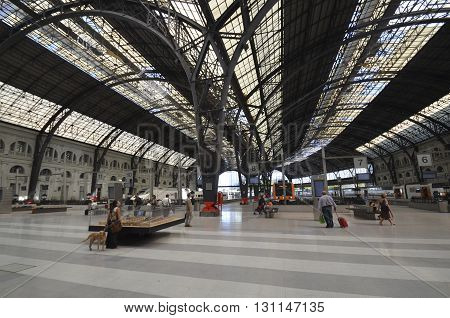 Barcelona, Spain - September 6, 2013: The roof of the Estacio de Franca in Barcelona