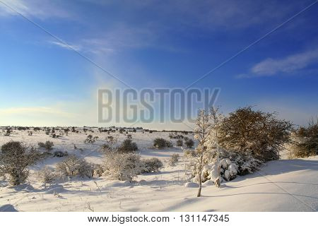 RURAL LANDSCAPE WINTER. Alta Murgia National Park: snowy hills.-(Apulia) ITALY