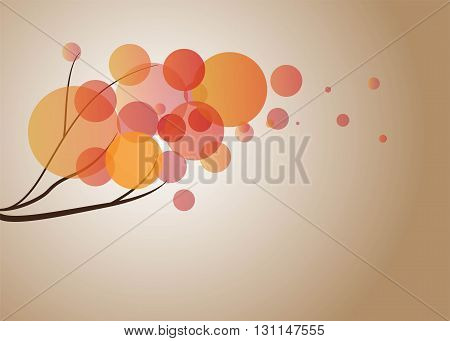 Stylized autumn tree branch. Text can be added. Vector illustration