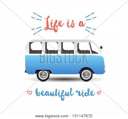 Summer time background with hippie van in retro style