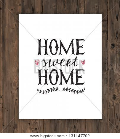 Hand lettering home sweet home poster