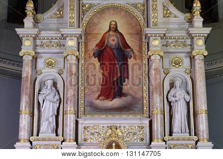 ZAGREB, CROATIA - SEPTEMBER 14: Main altar in Basilica of the Sacred Heart of Jesus in Zagreb, Croatia on September 14, 2015